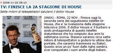 Ansa Dr House @ Davide Maggio .it