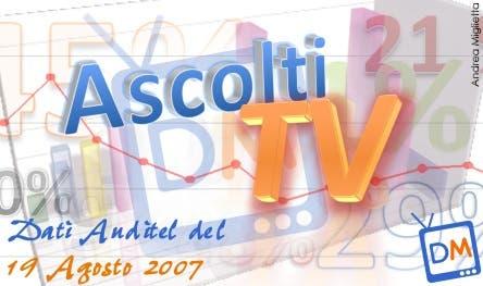 Dati Auditel 19 agosto 2007 @ Davide Maggio .it