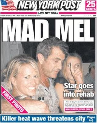 Mel Gibson ubriaco @ Davide Maggio .it