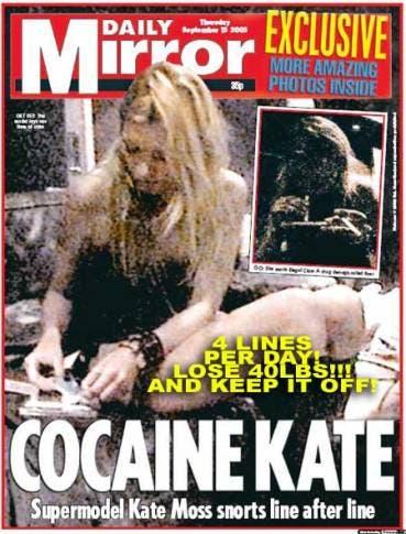 Kate Moss Cocaine, Daily Mirror @ Davide Maggio .it