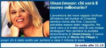 Unan1mous banner mediaset @ Davide Maggio .it