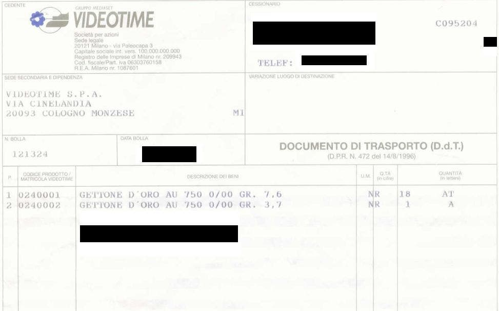 Documento di Trasporto Vincite Mediaset @ Davide Maggio .it