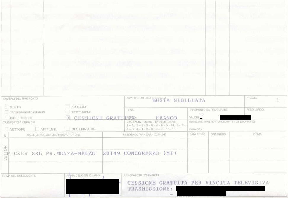 Documento di Trasporto Vincita Mediaset @ Davide Maggio .it