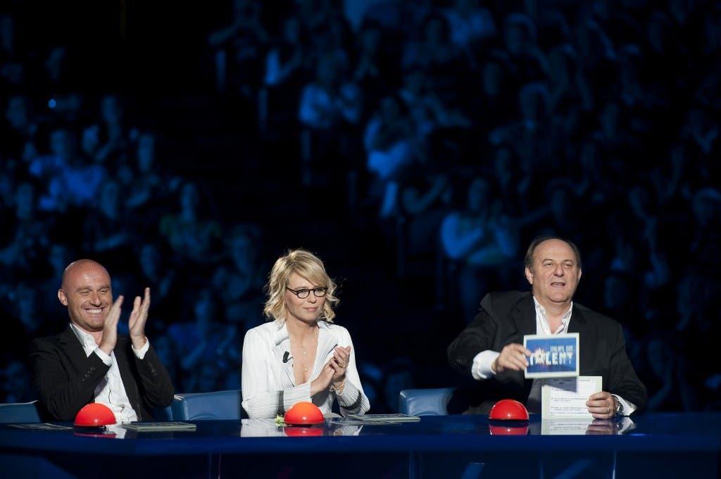 Italia's Got Talent 2: i giudici Rudy Zerbi (sx), Maria De Filippi e Gerry Scotti