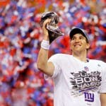 Eli Manning dei New York Giants, vincitori del Super Bowl 2012