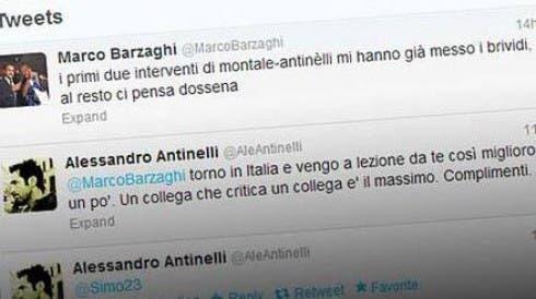 Botta e risposta via twitter tra Antinelli e Barzaghi