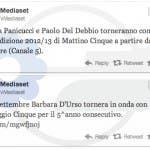I tweet di TvMediaset che confermano Mattino Cinque e Pomeriggio Cinque