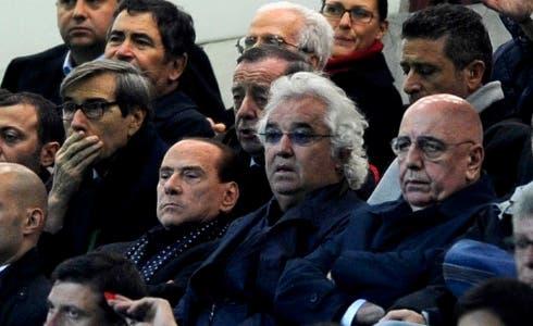 Berlusconi, Briatore e Galliani durante Milan-Malaga