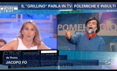 Jacopo Fo a Pomeriggio cinque con Barba D'Urso