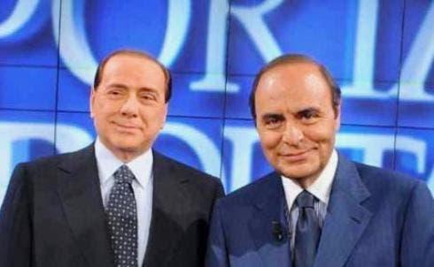 Bruno Vespa e Silvio Berlusconi a Porta a Porta