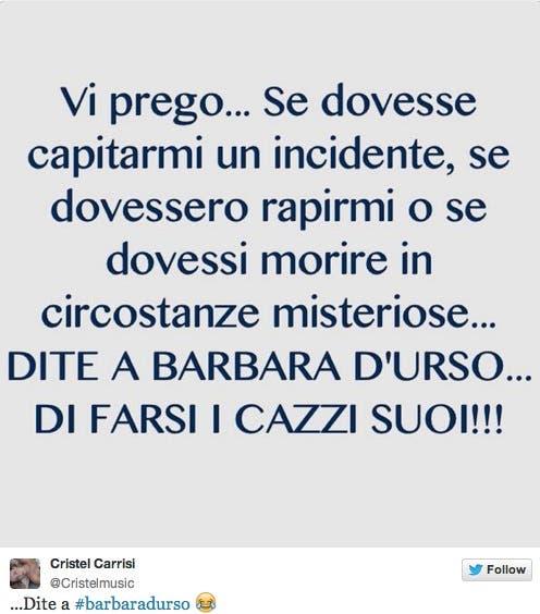 Cristel Carrisi contro Barbara D'Urso