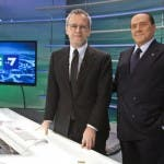 Enrico Mentana e Silvio Berlusconi