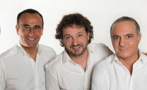 Carlo Conti con Leonardo Pieraccioni e Giorgio Panariello