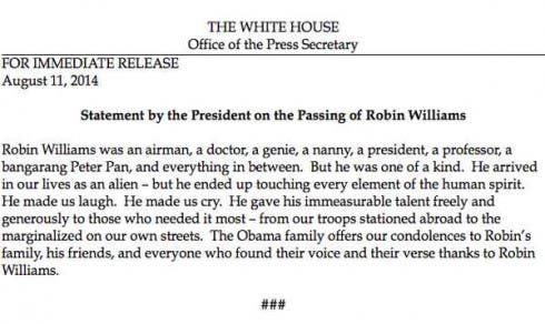 Robin Williams - Le Condoglianze di Obama