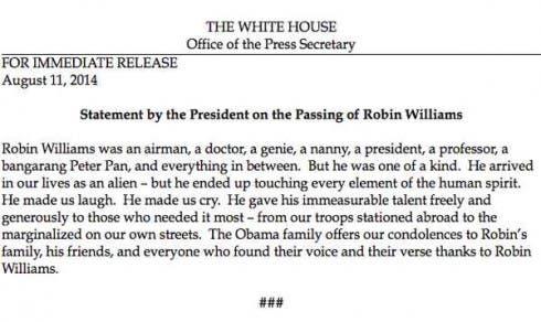 Robin Williams - Le Condoglianze di Obama