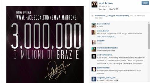Emma ringrazia i fan su Facebook che hanno raggiunto i 3 milioni