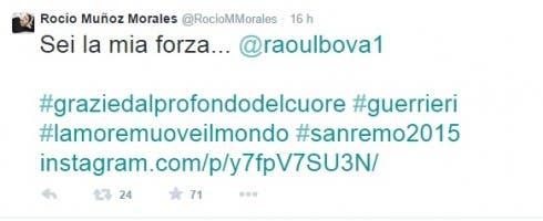 Rocio Morales ringrazia con un tweet il suo fidanzato Raoul Bova