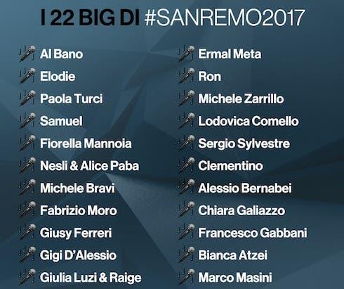 I big di Sanremo 2017