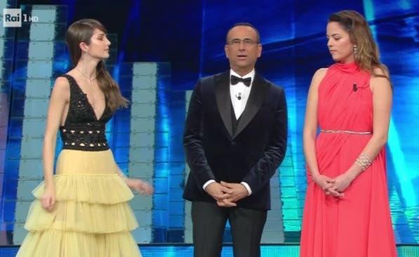 Festival di Sanremo 2017 - Carlo Conti con Annabelle Belmondo e Anouchka Delon