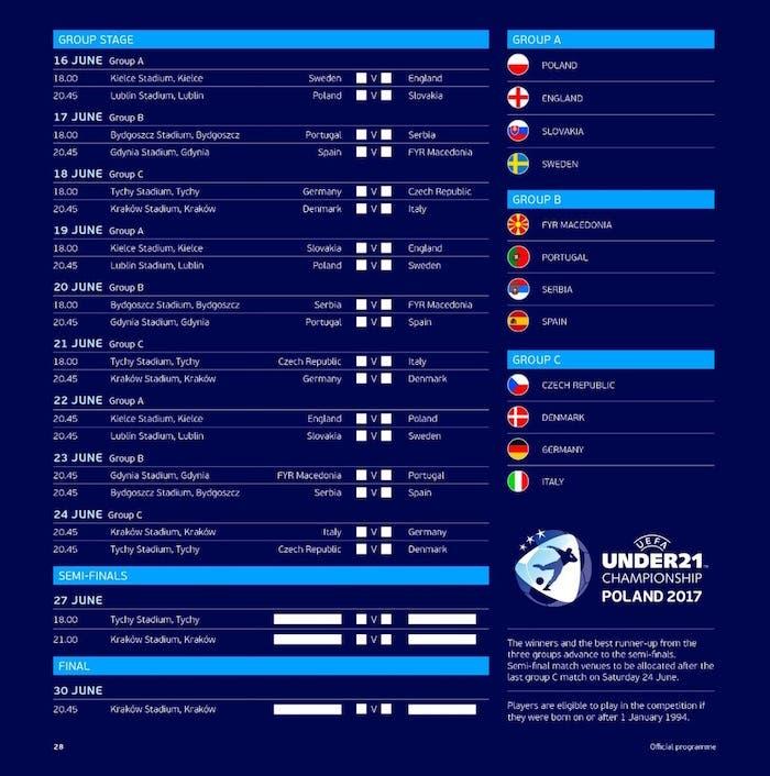 calendario europeo under 21
