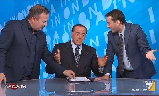 In Onda, Berlusconi scommette: «Offro una pizza a Telese e un pranzo a Parenzo se FI non supera il 30%» – Video