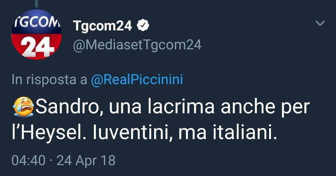 Il tweet di TgCom24