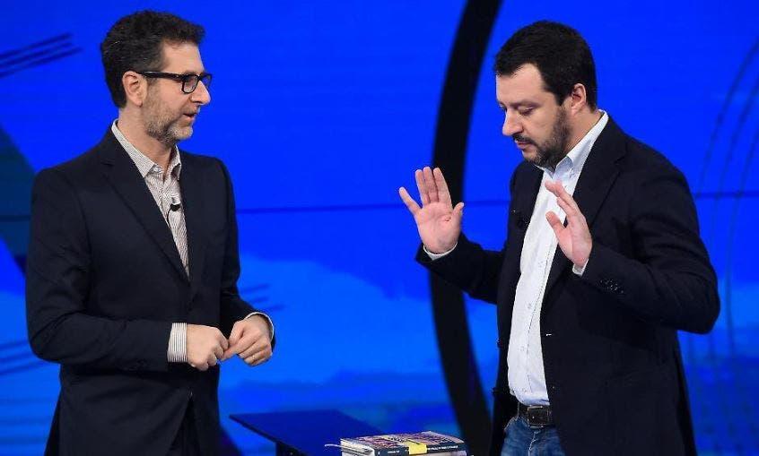 """Matteo Salvini contro Fabio Fazio: """"Il suo stipendio? Ci lav"""