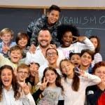Alla lavagna. Matteo Salvini e gli alunni