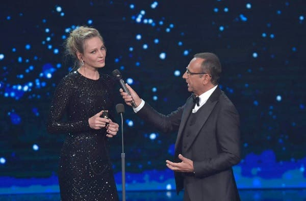 Uma Thurman e Carlo Conti - David di Donatello 2019