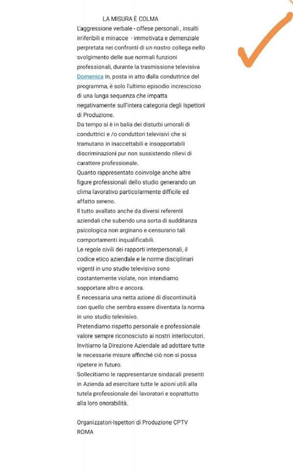 La lettera degli Organizzatori-Ispettori di Produzione CPTV Roma