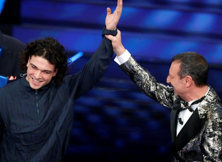 Sanremo 2020 - Leo Gassman e Amadeus (da US Rai)