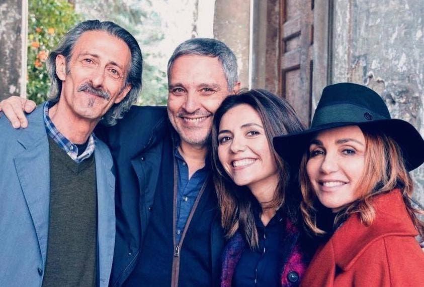 Mina Settembre - Nando Paone, Maurizio De Giovanni, Serena Rossi e la produttrice Paola Lucisano (da Facebook)
