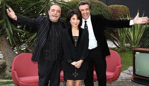 Nino Frassica, Nathalie Guetta e Flavio Insinna