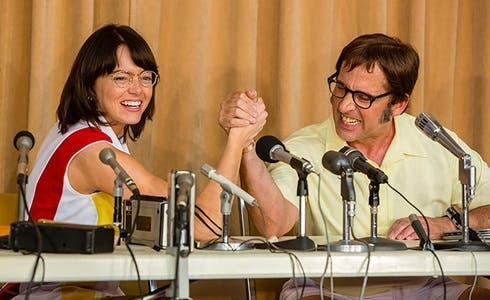 Emma Stone e Steve Carell in La battaglia dei sessi