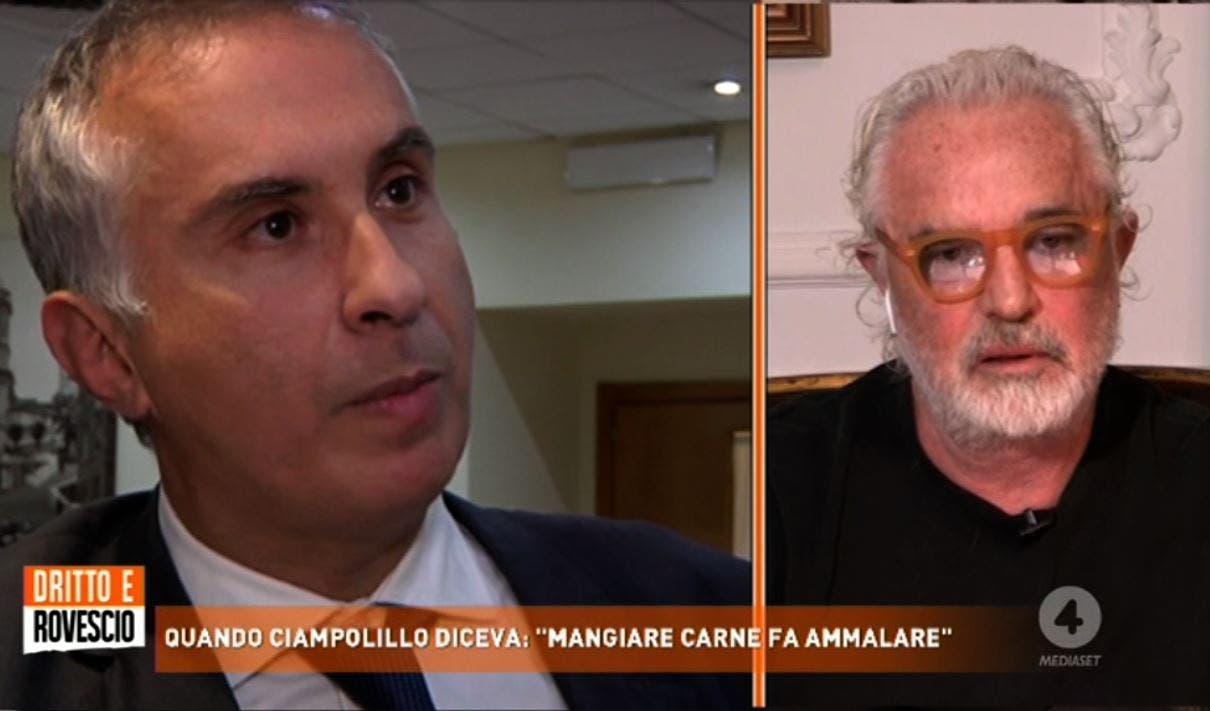 Dritto e Rovescio, Briatore contro Ciampolillo: «Questo è scemo, si deve far ricoverare. Uno così è da pigliare a calci in cul*»