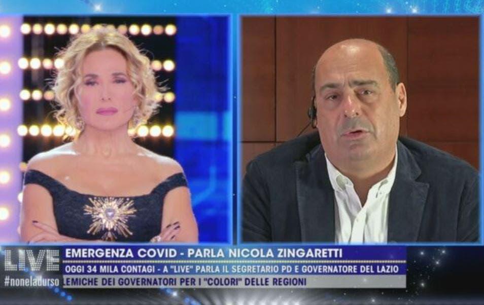 Barbara D'Urso, endorsement shock di Nicola Zingaretti: «Hai portato la politica vicino alle persone. Ce n'è bisogno»