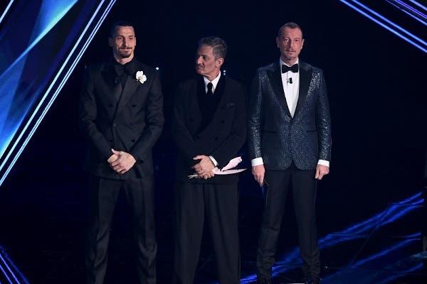 Ibrahimovic, Fiorelllo e Amadeus - Sanremo 2021
