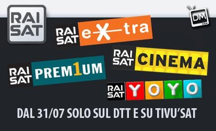 RaiSat dal 31 luglio su Dtt e Tivusat